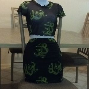 Chinese dragon print lettuce edge top and skirt 💕